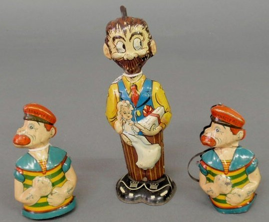 """41: Windup B.O. Plenty toy by Marx 8.5""""h. and two Barna"""