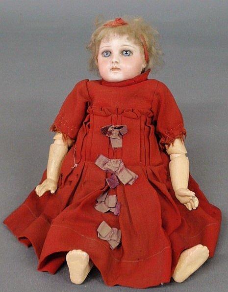 "125: French ""Jumeau"" bisque head doll, pierced ears"
