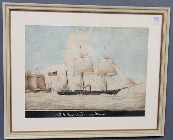 """176: Gouache titled """"U.S. Steamer Alleghany Leaving Mal"""