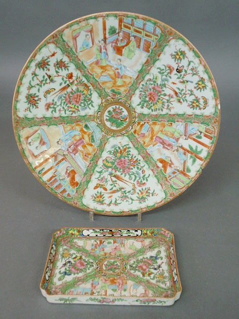 """205: Rose Medallion charger 16"""" dia. and a Rose Medalli"""
