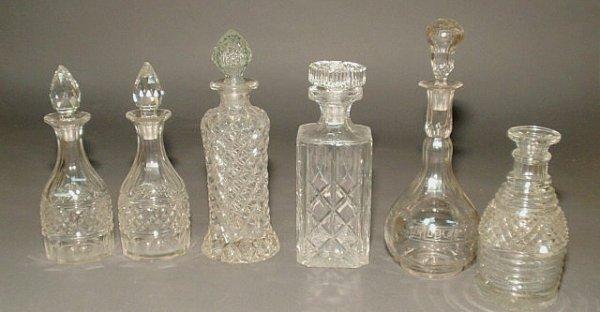 207: Six glass decanters.
