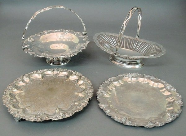 208: Group of silver plate table articles- centerpiece