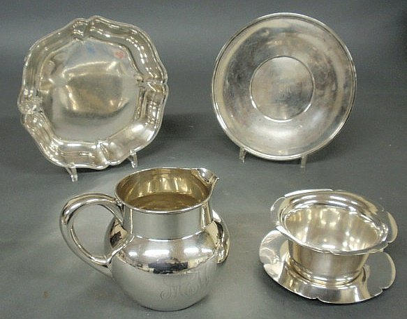 """209: Group of sterling silver- deep plate 9.5""""dia., pla"""