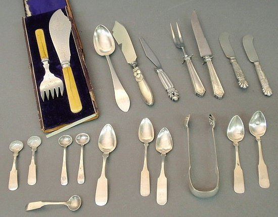210: Sterling and coin silver flatware, tongs by Hall &