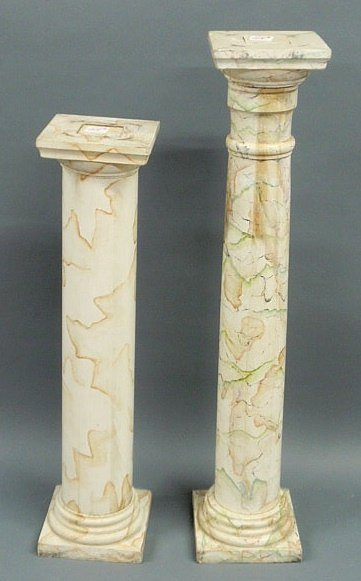 215: Two faux marble plant stands, carved wood with pai