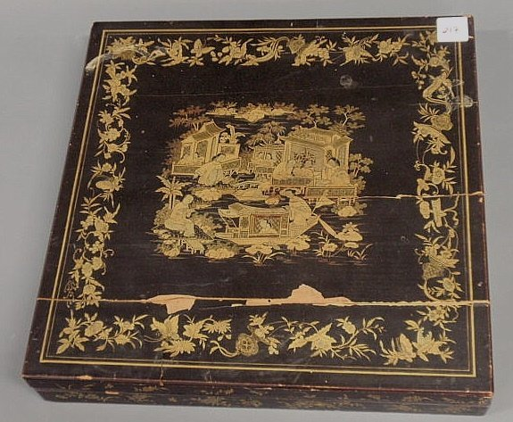 217: Chinese silkwork cover, ivory, in a black lacquere
