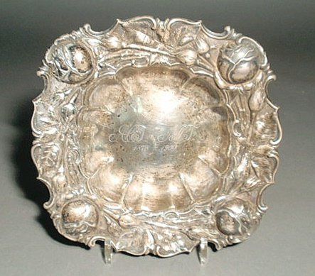 219: Sterling silver centerpiece bowl, Art Nouveau styl
