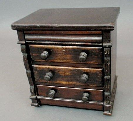 221: Miniature Empire chest of drawers, c.1920, black p