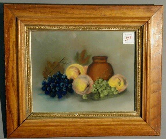 "222: Pastel still life of fruit, late 19th c. 10.75""x13"