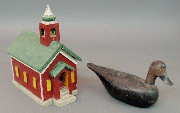"223: Primitive birdhouse church or schoolhouse form 13"""