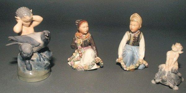 """303: Four Royal Copenhagen figural groups. 3.75""""h., 5""""h"""
