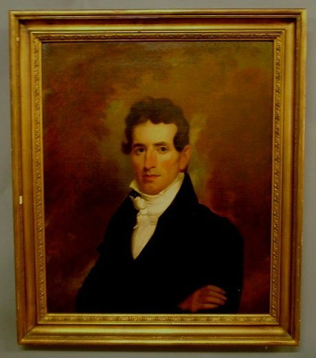 410: Oil on canvas portrait of Thomas Yeatman, in the m