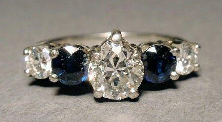 467: Platinum, diamond and blue sapphire ring, size 4.7