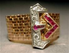 481 Art Deco 14k rose gold mesh ruby and diamond ring