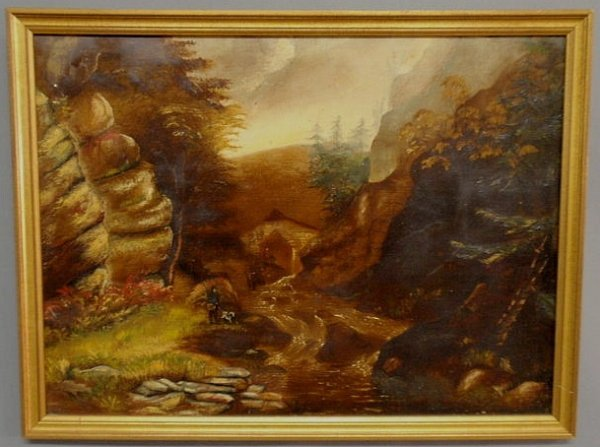 3: Oil on panel painting, late 19th c., of a mountai
