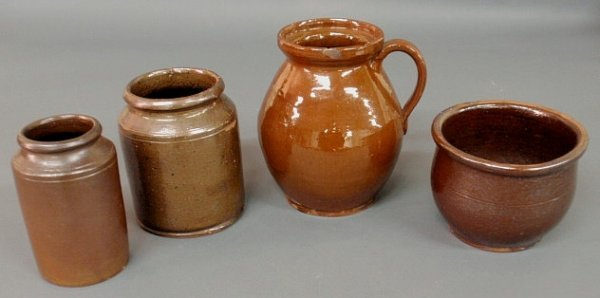 """4: Four pieces of redware 19th c.- two jars 6""""h. & 6"""