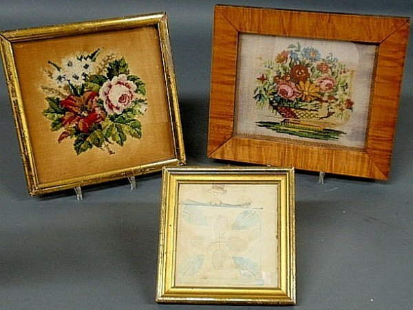 6: Two framed needlepoint pictures of flowers and a