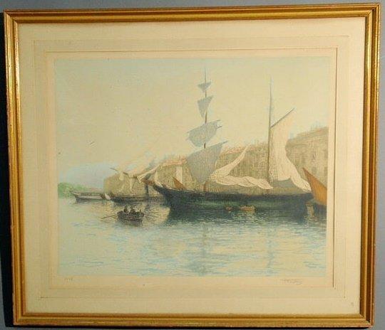 7: Framed aquatint print of a sailing ship and dingh