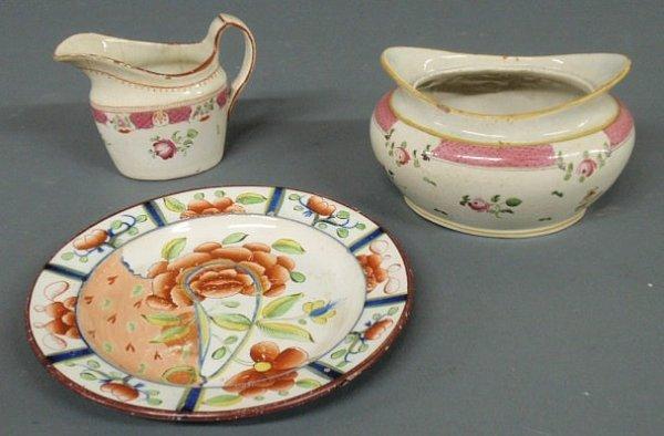 "9: Gaudy Dutch plate ""Oyster"" pattern 7.5""dia., crea"