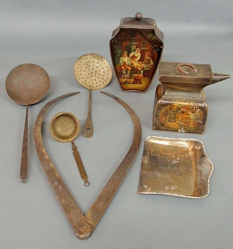 "11: Group of metalware- two biscuit tins ""Huntley & P"