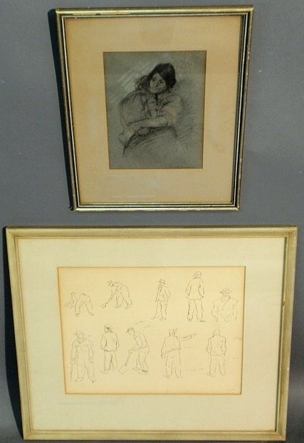 """12: Two pen and ink drawings of workers signed """"Glush"""