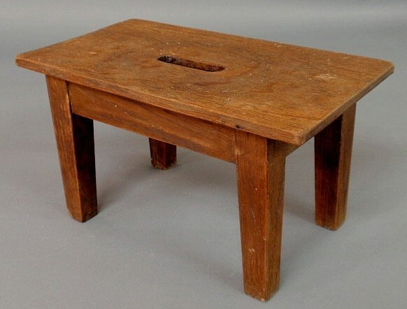 13: Arts & Crafts oak stool signed with the Roycroft