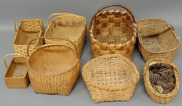 14: Eight woven baskets including an early example.
