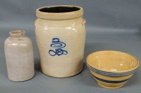 16: Stoneware three-gallon crock, 19th c., with blue