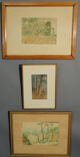"""18: Three watercolor landscape paintings """"In the Pine"""