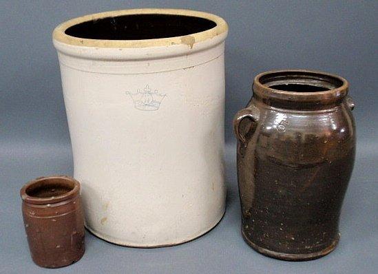 "19: Stoneware crock, fifteen gallon 21""h., stoneware"