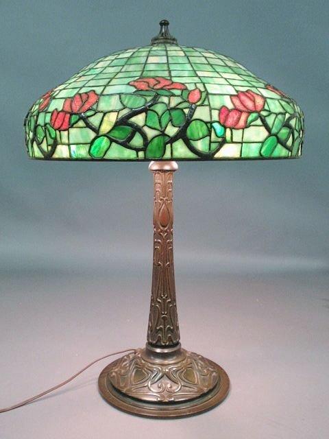 408: Patinated bronze Art Nouveau lamp, attr.to Gorham,