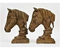 Pair of Cast Iron Horse Head Sculptures