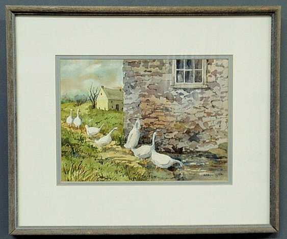 "4: Watercolor painting titles ""Seven Geese a Heading"""