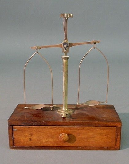5: Mahogany and brass cased mineral scale, brass labe