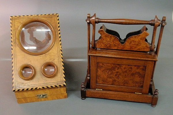 6: Two walnut cased stereo viewers, the burled exampl