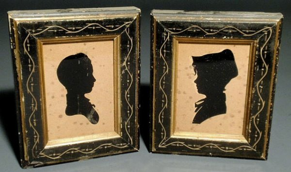 10: Pair of framed silhouettes, 19th c., Newell Family