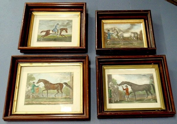 11: Four equine prints each mounted in a gilt lined wa