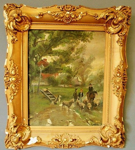 16: Oil on canvas landscape painting of a farmer and s