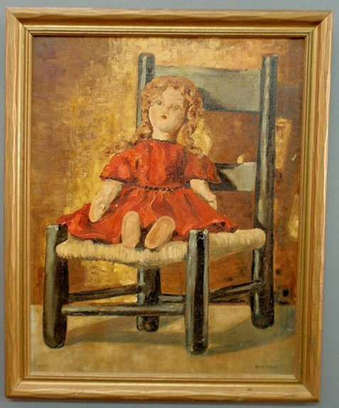 20: Oil on board painting of a doll on a chair and sig