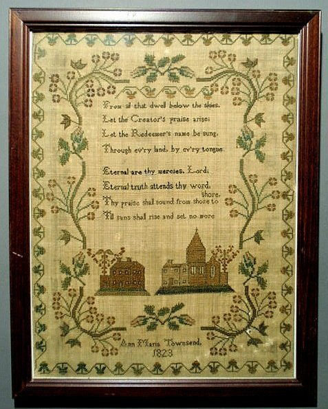 22: English silk on linen sampler wrought by Ann Maria