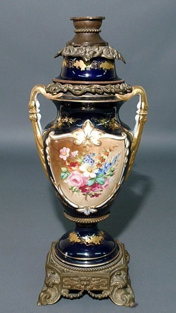 9: Colorful Paris porcelain covered urn, c.1880, with