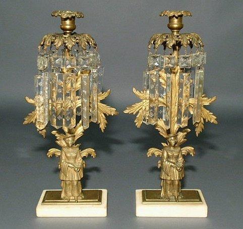 11: Pair of bronze figural girandoles, late 19th c., w