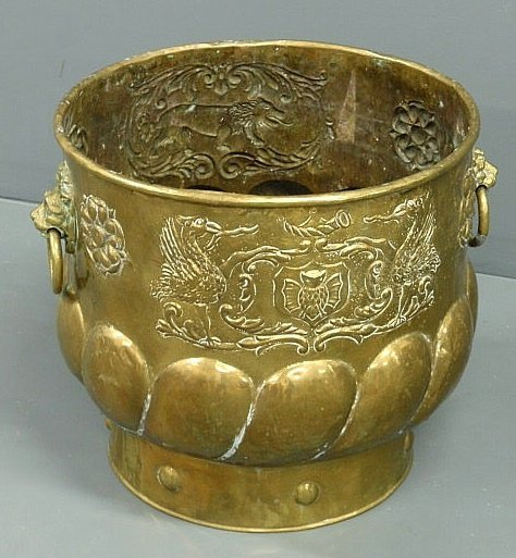 16: Continental brass container decorated with griffin