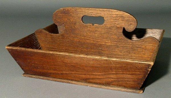 """17: Chestnut cutlery tray, 19th c. 7""""h.x12""""l.x15""""d."""