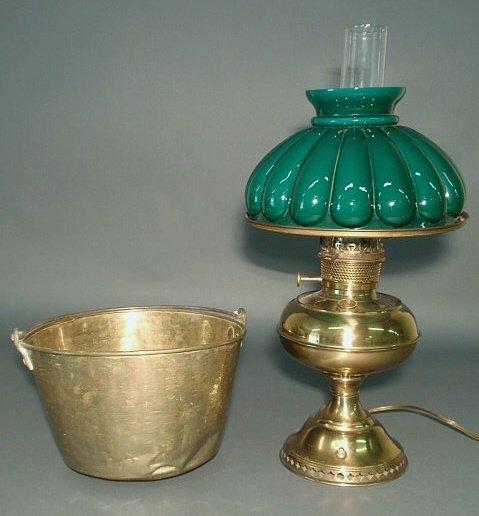 19: Rayo brass lamp (electrified) and a brass bucket.
