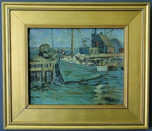 23: Oil on canvas painting of a docked fishing boat si