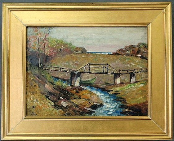 25: Oil on canvas painting of a landscape with a bridg