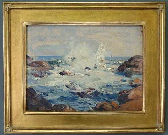 28: Oil on artist board seascape painting, 20th c., si