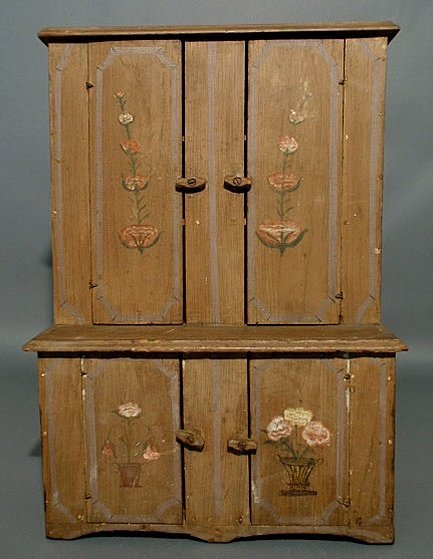 5: Miniature Dutch cupboard, late 19th c., with paint d