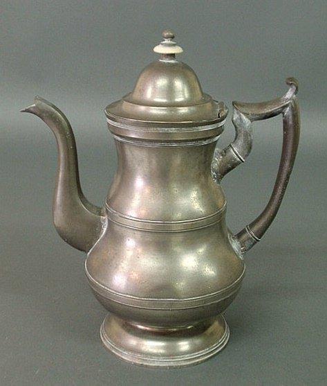 6: American pewter coffeepot by Boardman & Co., New Yor